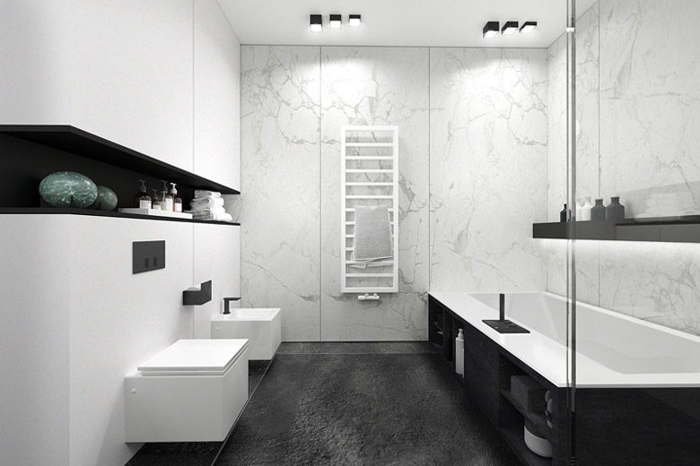 Apartament Subtrakt, Warszawa. Projekt wnętrz: KANDO ARCHITECTS