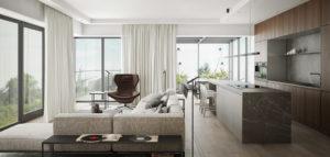 Naturalny kamień i drewno w stonowanych wnętrzach apartamentu projektu Exit Design