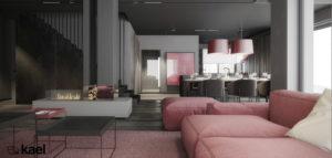 Odważne wnętrza domu z mocnym akcentem projektu studia kael architekci