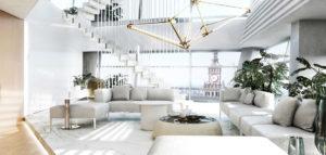Luksusowe wnętrza penthouse'u w apartamentowcu Złota 44 projektu MOKAA Architekci