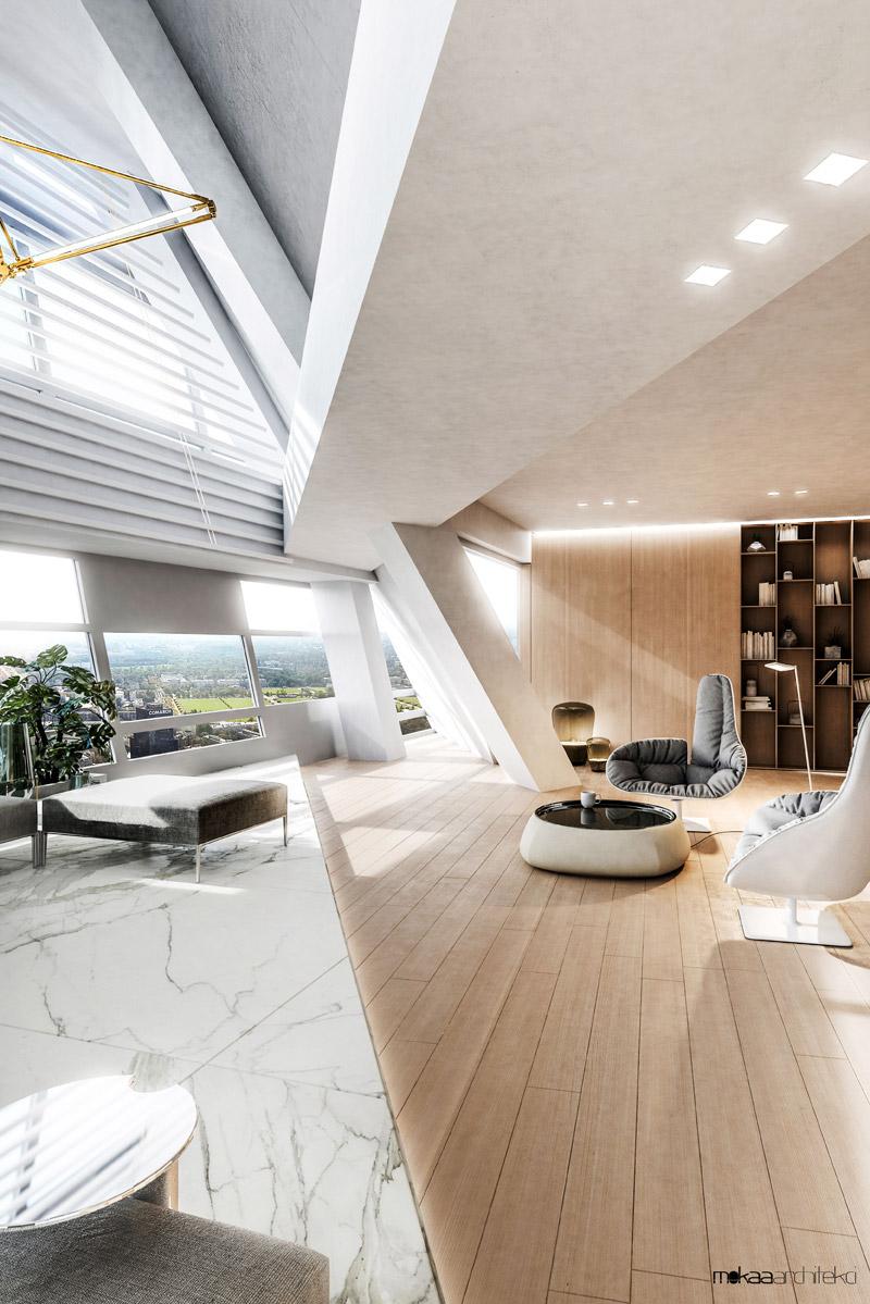 Penthouse w Apartamentowcu Złota 44. Projekt wnętrz:MOKAA Architekci