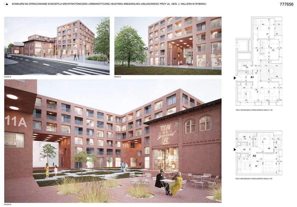 Budynek mieszkalno usługowy w Rybniku. I Nagroda w konkursie: SLAS Architekci