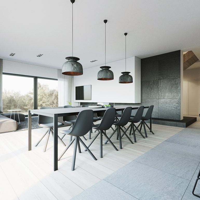 Wnętrza domu, Parczew. Projekt: 081 Architekci