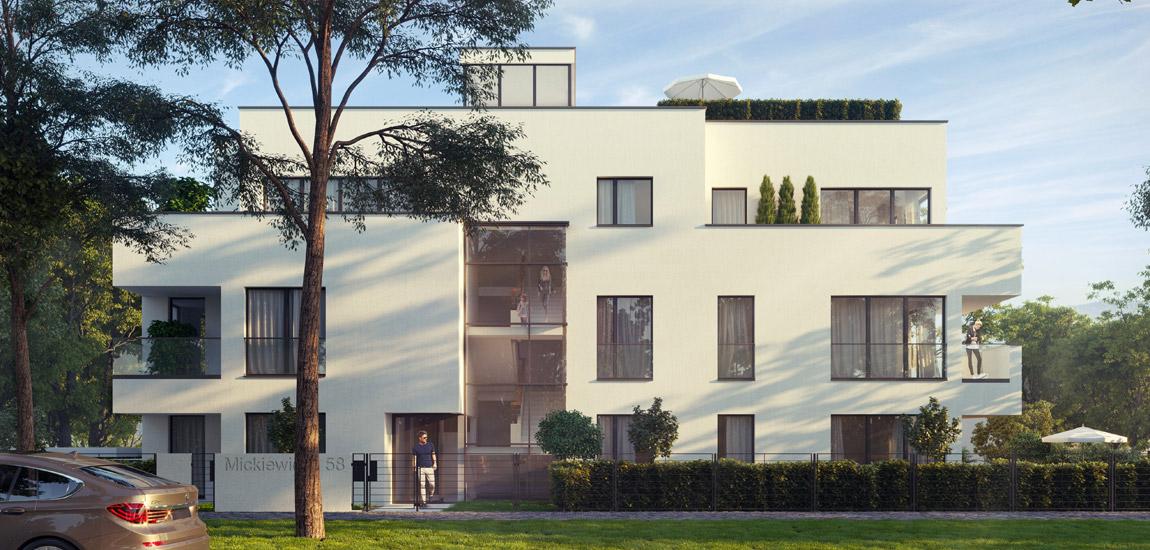 Kameralna willa z apartamentami na Starym Żoliborzu w Warszawie. Projekt: Bulanda, Mucha Architekci (BIM Architekci)