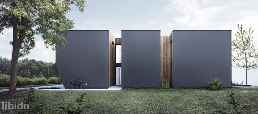 Dom na wąskiej działce. Projekt: Libido Architekci