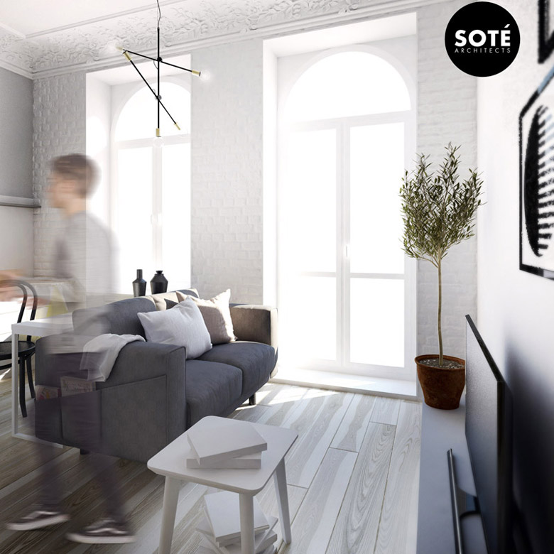Mikro-apartament w Łodzi. Projekt wnętrz: SOTE architects