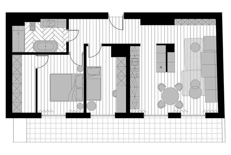 Wnętrza mieszkania we Wrocławiu. Projekt: SOTE architects