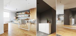 Pogodne i żywe wnętrza mieszkania projektu biura 081 Architekci