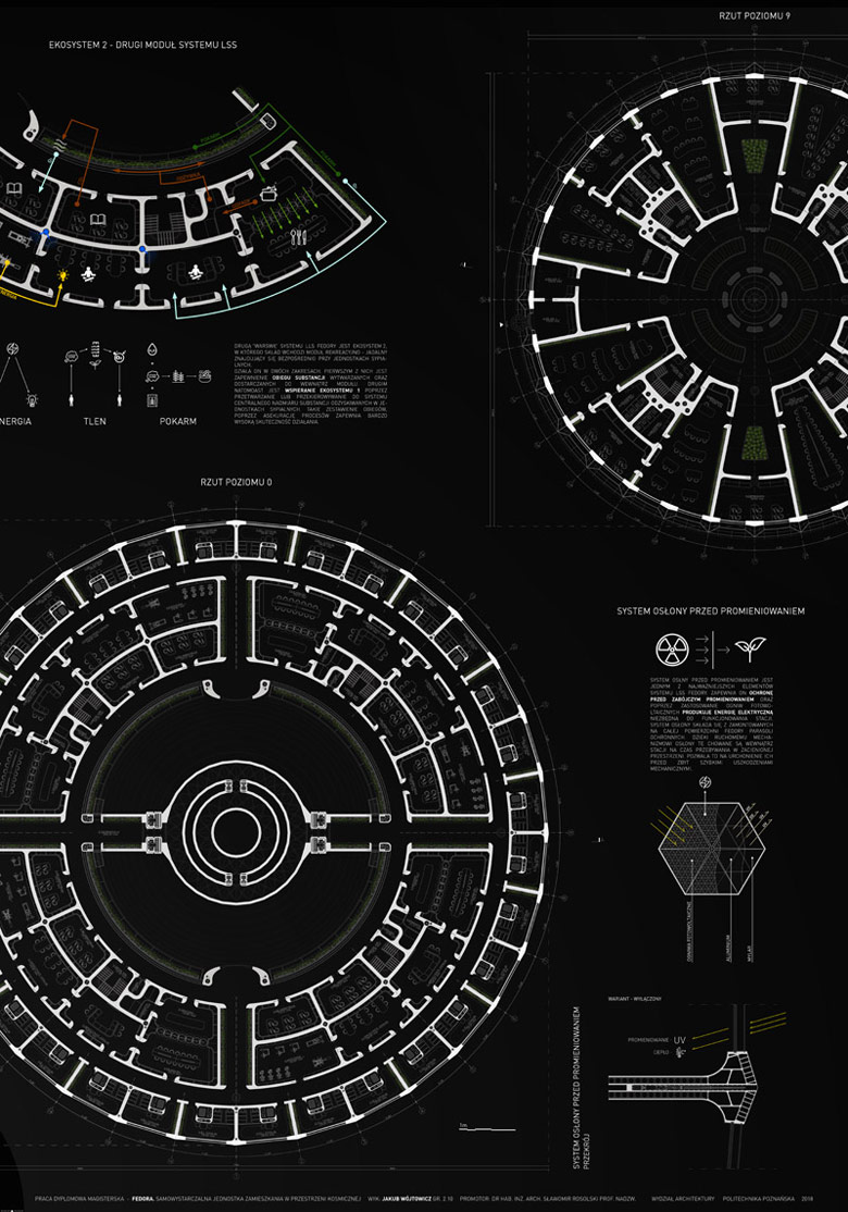 Dyplomy Architektury: FEDORA | Samowystarczalna jednostka zamieszkania w przestrzeni kosmicznej. Autor: Jakub Wójtowicz