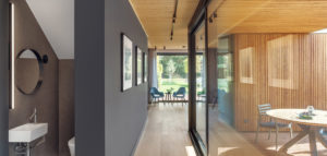 Wnętrza eko rezydencji nad jeziorem projektu EV Architects