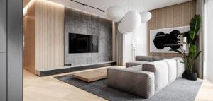 Biel, drewno i delikatne nuty szarości. Wnętrza mieszkania biura Hi-Light Architects