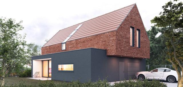 Mały dom z cegły w Kozłowie projektu pracowniINOSTUDIO architekci