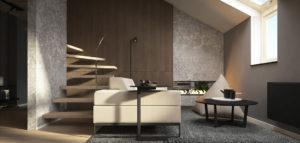 Wnętrza dwupoziomowego mieszkania projektu biura kael architekci