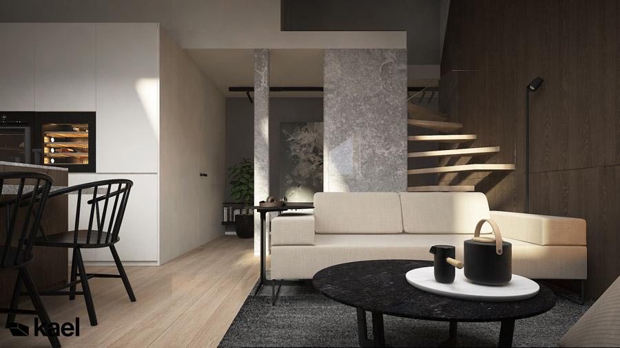 Wnętrza dwupoziomowego mieszkania w Warszawie. Projekt: kael architekci
