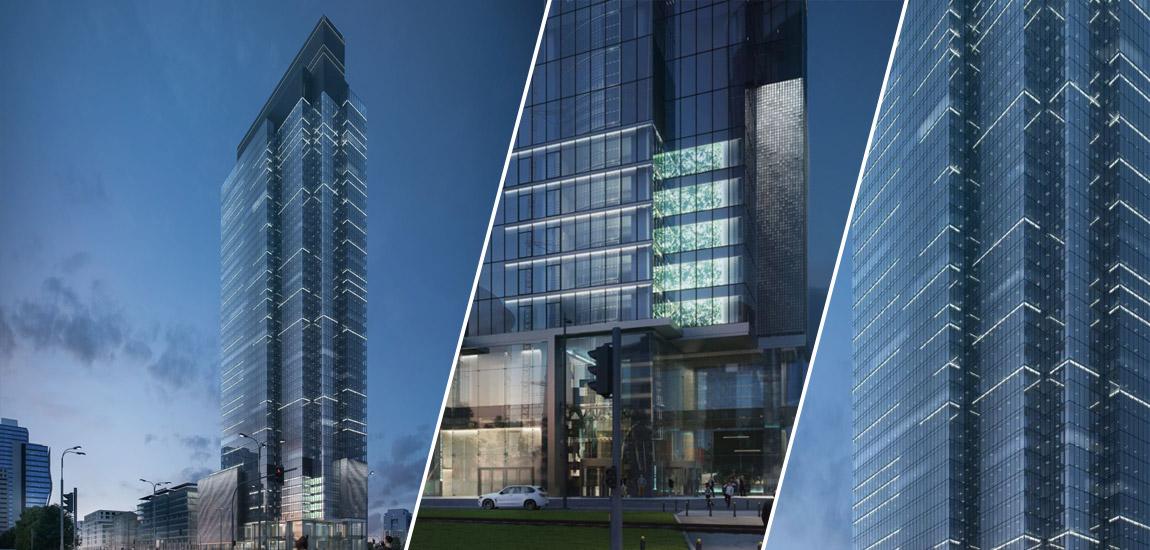 Wieżowiec Warsaw UNIT, Warszawa. Inwestor: Ghelamco. Architektura budynku: Projekt Polsko Belgijska Pracownia Architektury