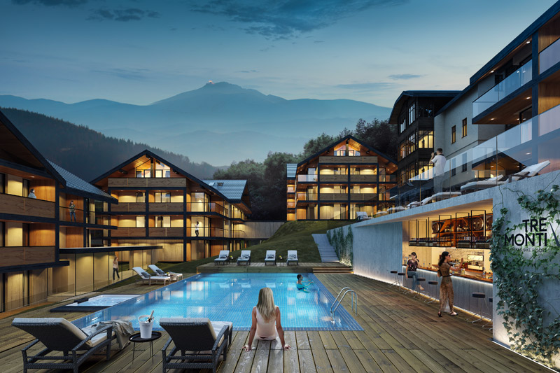 Kompleks wypoczynkowy TRE MONTI Ski & Bike Resort w Karpaczu. Projekt: Q2Studio