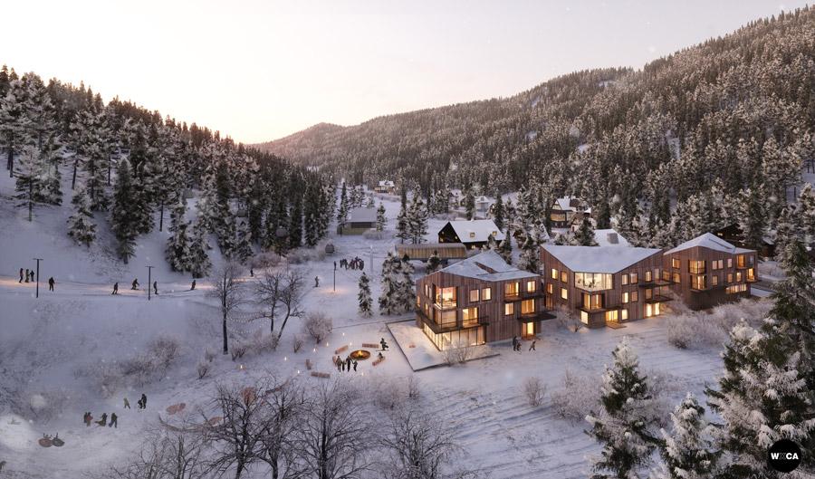 Apartamenty Złoty Widok w Szczyrku. I Nagroda w konkursie: WXCA   Pracownia Architektoniczna