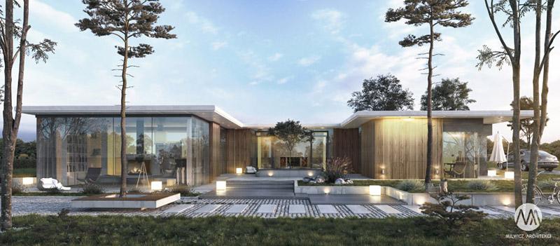 Dom z dziedzińcem projektu biura Milwicz Architekci