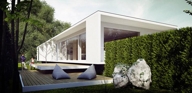 Minimalistyczny dom z widokiem na las projektu MUS Architects