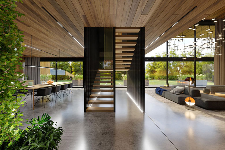 Dom dębem otulony – wnętrza projektu KANDO ARCHITECTS