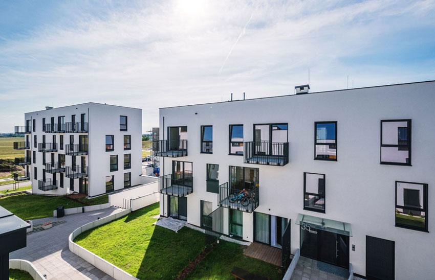 Ekonomiczne osiedle mieszkaniowe Atmosfera na Osiedlu Nowe Żerniki we Wrocławiu. Zdjęcie. Maciej Lulko