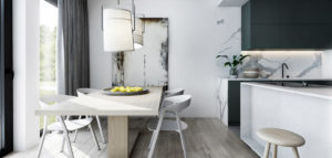 Minimalistyczne wnętrza niewielkiego mieszkania projektu studia am.home