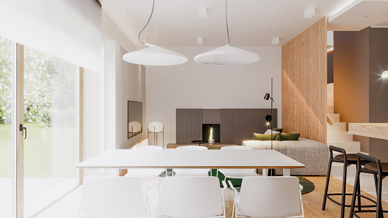 Wnętrza domu pod Wrocławiem. Projekt: Hi-Light Architects