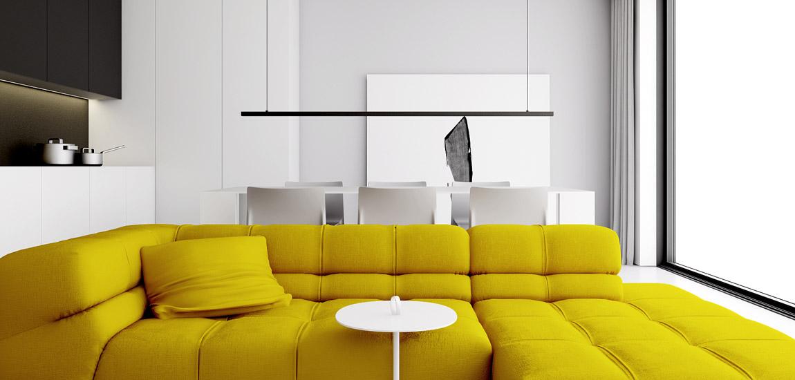 Wnętrza domu z intensywnymi akcentami projektu studia INUTI