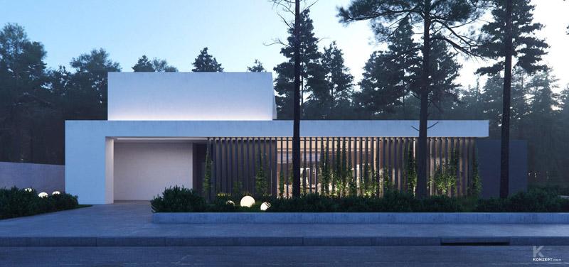 Dom na skraju lasu, okolice Grodziska Mazowieckiego. Projekt: KONZEPT Architekci