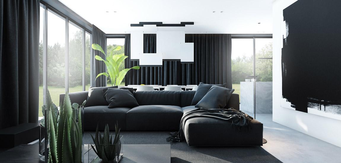 Wyraziste połączenie bieli i czerni we wnętrzach mieszkania projektu Merapi Architects