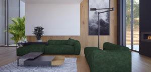 Wnętrza domu w odcieniach butelkowej zieleni i ciemnego drewna projektu studia MOBO