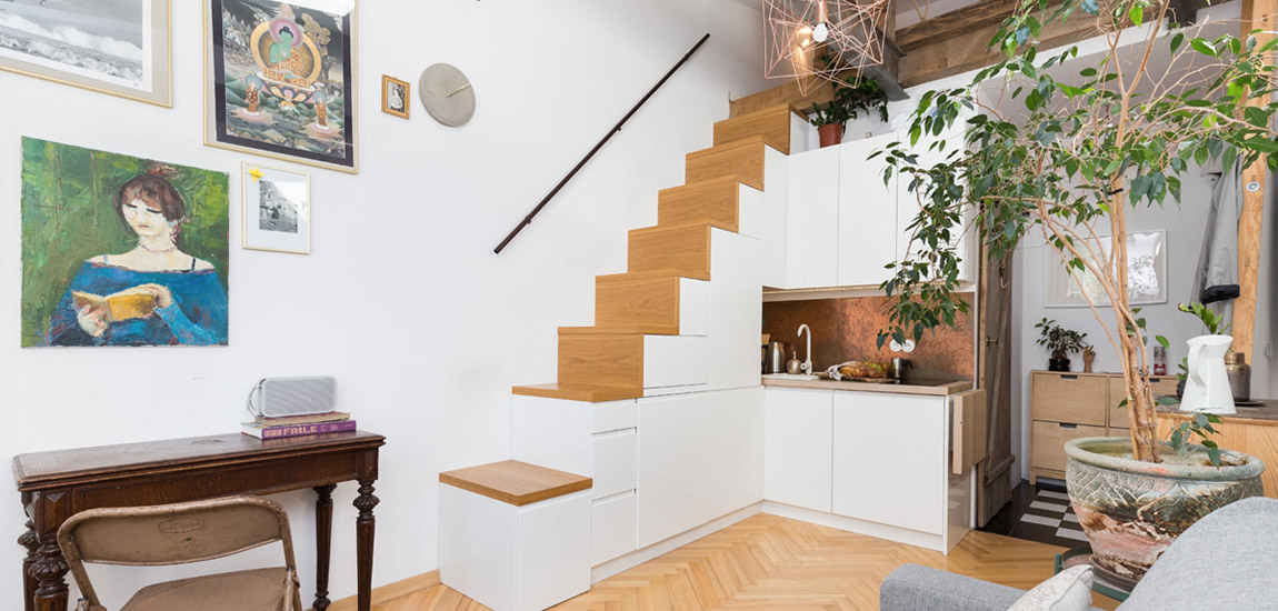 Studio w wersji mini – artystyczna kawalerka projektu Capricorn Interiors