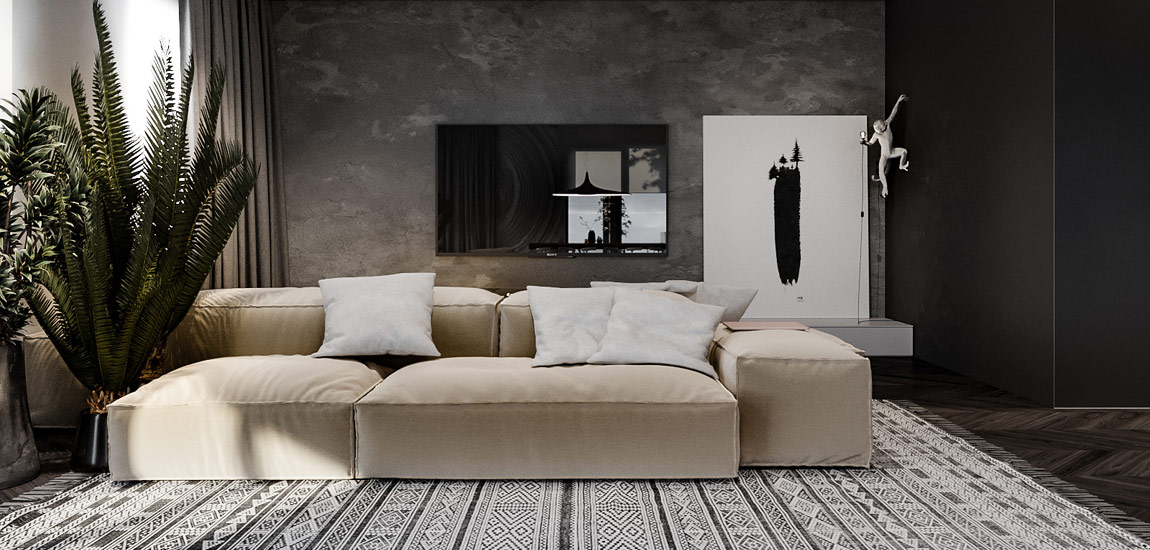 Efektowna kompozycja szarości, faktur i nowoczesnych form we wnętrzach projektu Hi-Light Architects