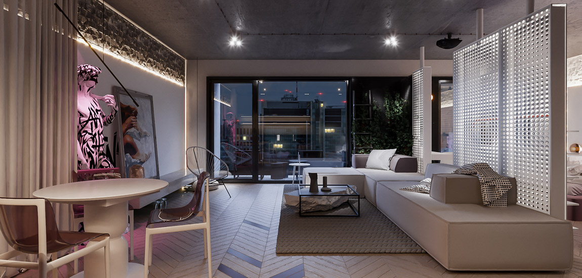 Loftowy klimat i wiele nietypowych akcentów – wnętrze mieszkania biura Hi-Light Architects