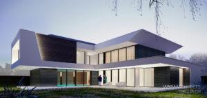 Dynamiczna forma domu projektu biura JABRAARCHITECTS