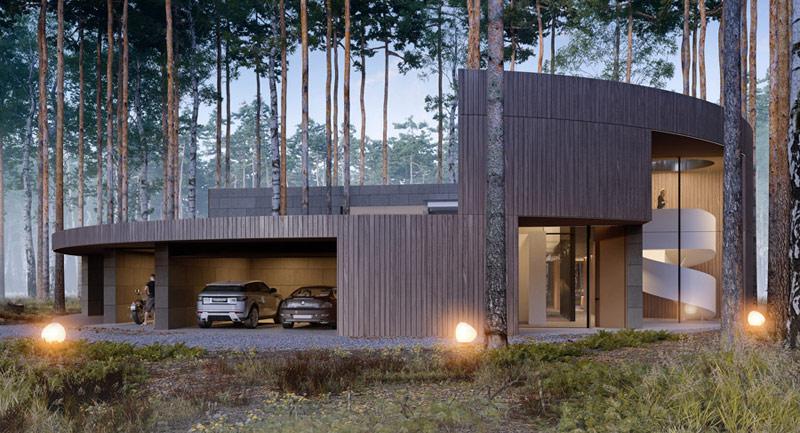 Projekt domu Circle Wood, Warszawa. Pracownia: Mobius Architekci Przemek Olczyk