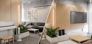 Efektowne wnętrza w szarości i drewnie. Aranżacja mieszkania projektu studia hilight.design