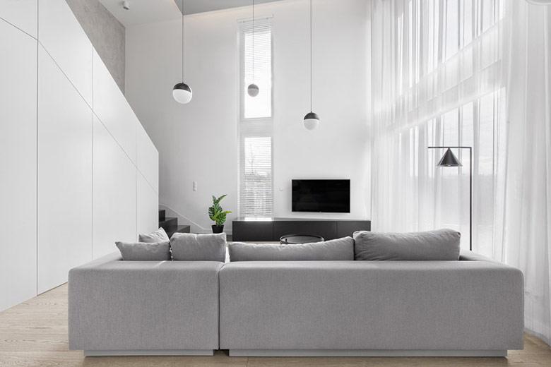 Wnętrza mieszkania dwupoziomowego. Projekt:Ktura Architekci. Zdjęcia: Fotograf-y