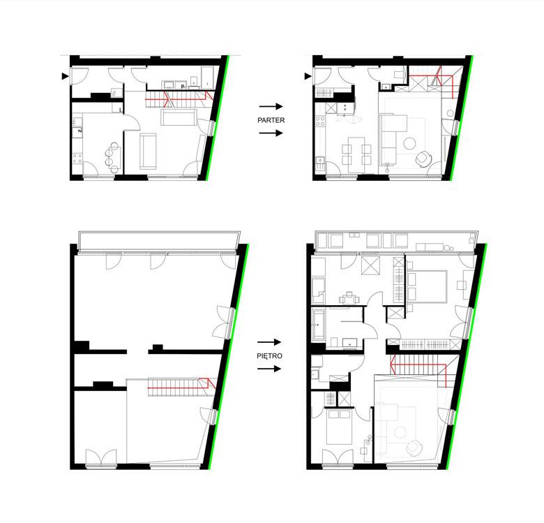 Wnętrza mieszkania dwupoziomowego. Projekt:Ktura Architekci