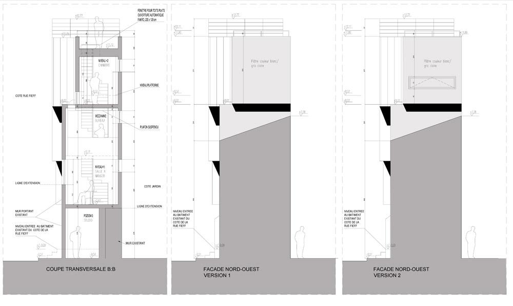 Dom w Boulogne Billancourt - projekt nadbudowy. Autor: SZCZ | Jakub Szczęsny. Współpraca: Nina Kempa