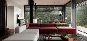Wyraziste połączenie bieli, grafitów i czerwieni we wnętrzach projektu hilight.design