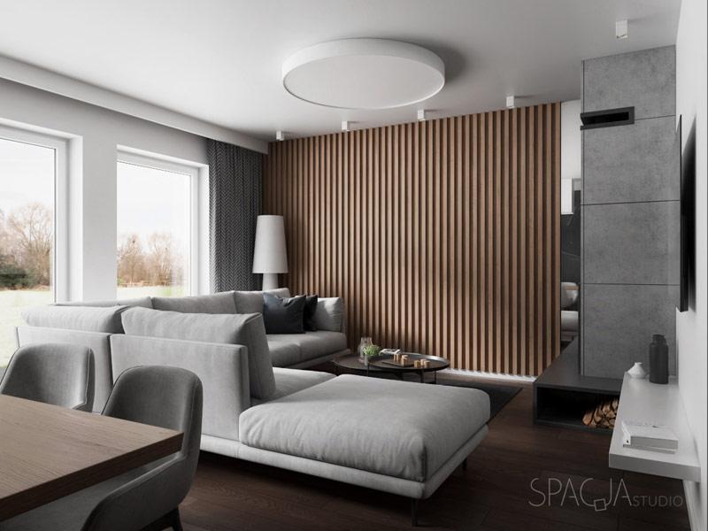 Wnętrza domu w Pniowie. Projekt: Spacja Studio