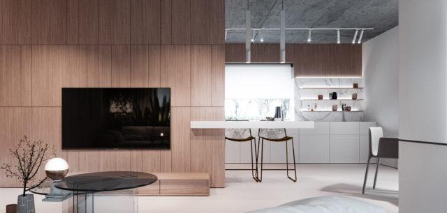 Surowy beton, biel i drewno. Koncept wnętrz projektu hilight.design