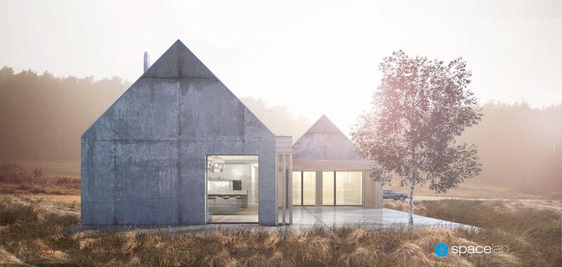 Dom w Chwalęcicach, woj. lubuskie. Projekt: Pracownia architektoniczna Spacelab