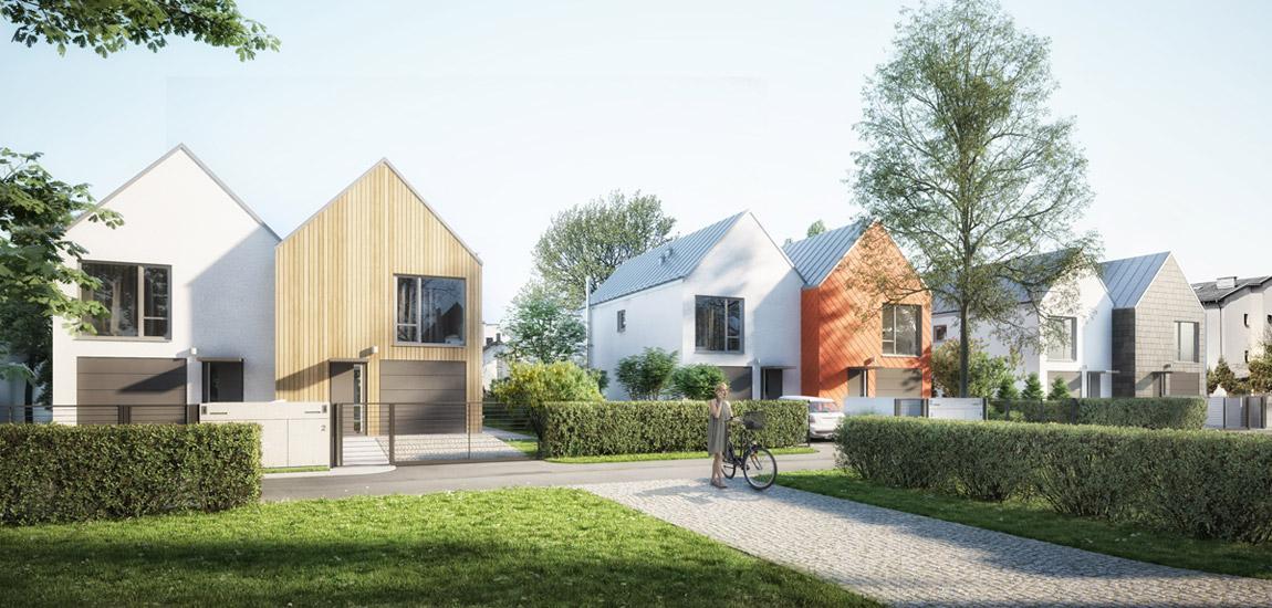 Osiedle małych domów dwulokalowych w Łomiankach pracowni STOPROCENT Architekci