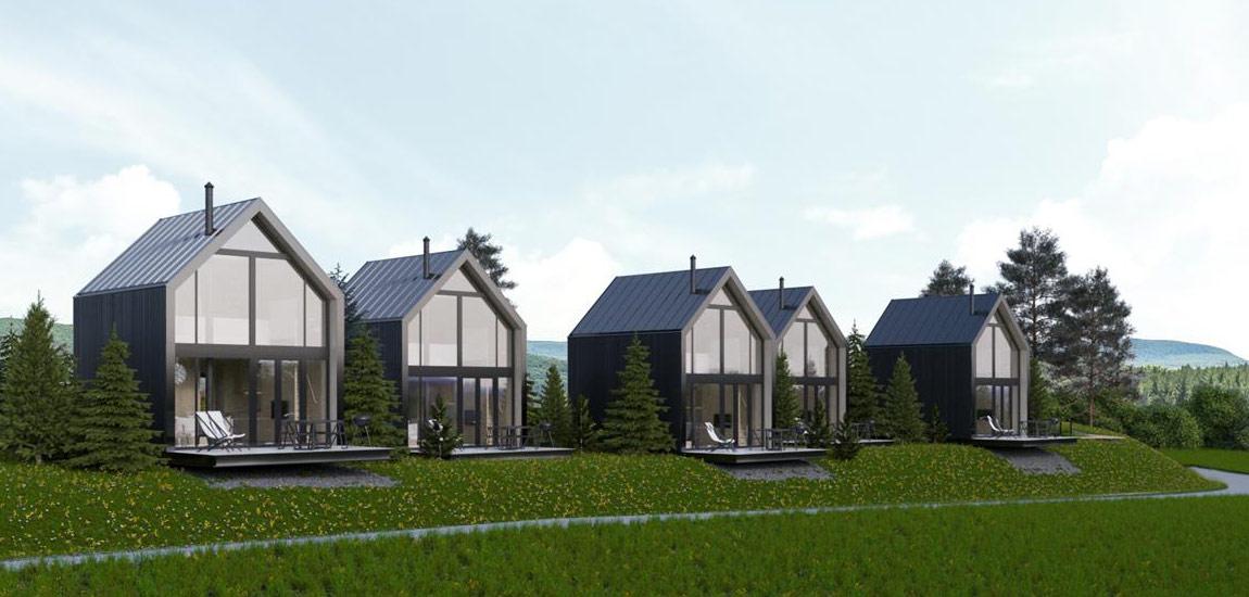 Zespół domków na skraju rezerwatu pod Zamościem. Projekt:Suspenzo Architectural Group