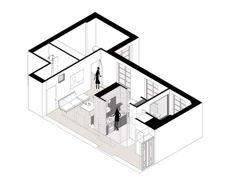 Apartament w przedwojennej, klimatycznej kamienicy, Warszawa. Projekt wnętrz: MFRMGR Architekci.