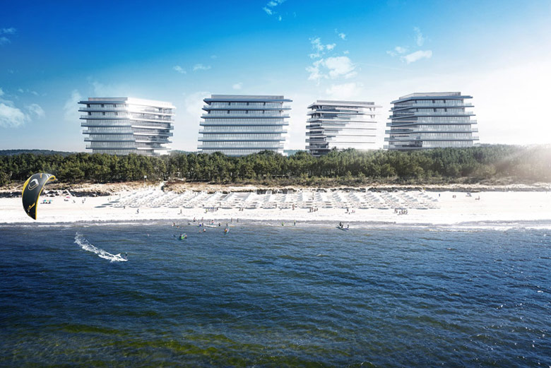 """Apartamentowce """"Wave Apartments"""", Międzyzdroje. Projekt: MODOarchitektura"""