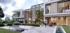 Dom dwustronny z nowoczesną strefą wypoczynkową biura Urban Project