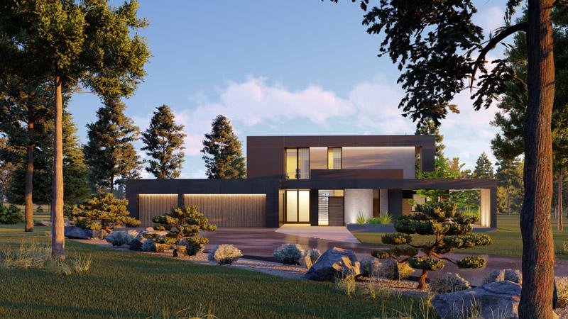 Dom w otoczeniu natury. Projekt: Urban Project